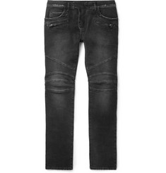 Balmain Skinny-Fit Stretch-Denim Biker Jeans