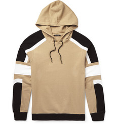 Balmain Panelled Cotton and Linen-Blend Hoodie
