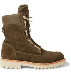 Balmain Leather-Trimmed Suede Boots