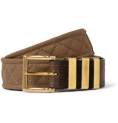 Balmain 3.5cm Brown Canvas And Leather Belt