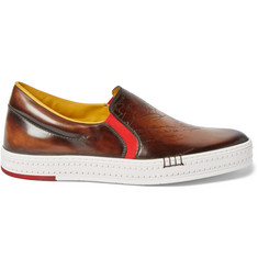 Berluti Playtime Polished-Leather Slip-On Sneakers