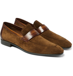 Berluti - Lorenzo Venezia Leather-Trimmed Suede Loafers