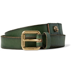 Gucci 2.5cm Green Embellished Distressed Leather Belt