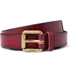 Gucci 2.5cm Claret Embellished Distressed Leather Belt