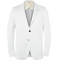 Canali White Slim-Fit Cotton-Blend Piqué Blazer