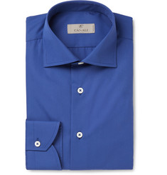 Canali Blue Cutaway-Collar Cotton Shirt
