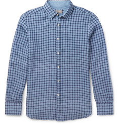Canali Slim-Fit Checked Linen Shirt