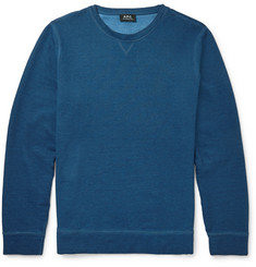 A.P.C. Indigo-Dyed Loopback Cotton-Jersey Sweatshirt