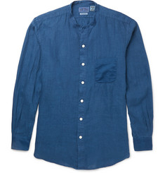 Blue Blue Japan - Grandad-Collar Linen Crepe-Trimmed Cotton Shirt