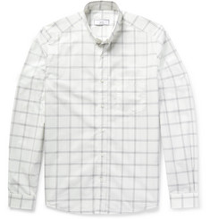 AMI Slim-Fit Windowpane-Checked Cotton-Poplin Shirt