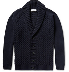 AMI Shawl-Collar Cable-Knit Merino Wool Cardigan
