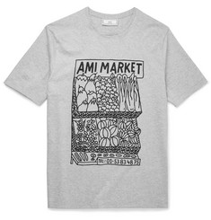 AMI Slim-Fit Printed Cotton-Jersey T-Shirt