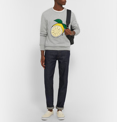 AMI - Lemon-Embroidered Cotton-Jersey Sweatshirt