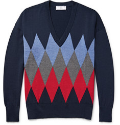 AMI - Argyle-Knit Wool Sweater