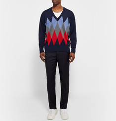AMI Argyle-Knit Wool Sweater