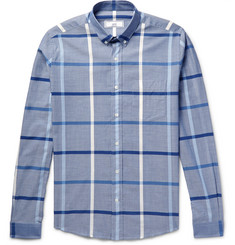 AMI Slim-Fit Windowpane-Check Cotton-Poplin Shirt