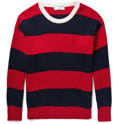 AMI - Striped Ribbed Cotton Sweater