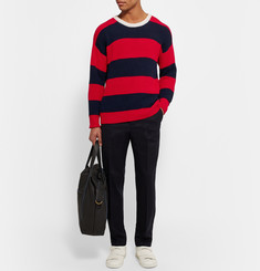 AMI Striped Ribbed Cotton Sweater