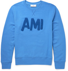AMI - Flocked Cotton-Jersey Sweatshirt