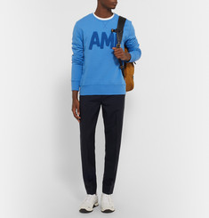 AMI Flocked Cotton-Jersey Sweatshirt