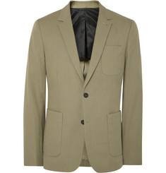 AMI Khaki-Green Slim-Fit Cotton-Blend Blazer