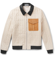 J.W.Anderson - Leather and Suede-Trimmed Quilted Cotton-Blend Bomber Jacket