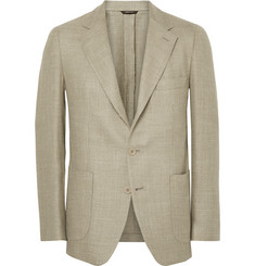 Loro Piana Ecru Woven Wool, Silk and Linen-Blend Blazer