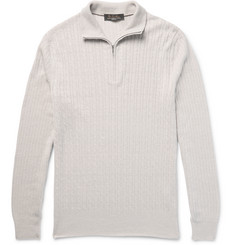 Loro Piana Half-Zip Baby Cashmere, Flax and Silk-Blend Sweater