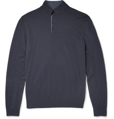Loro Piana Contrast-Tipped Silk and Cashmere-Blend Sweater