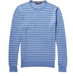 Loro Piana Striped Cotton, Silk and Cashmere-Blend Sweater