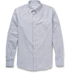 Loro Piana - Alfred Striped Cotton and Linen-Blend Oxford Shirt