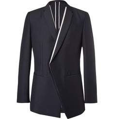 Kilgour - Navy Contrast-Trimmed Mohair and Wool-Blend Blazer