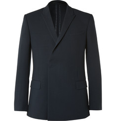 Kilgour - Navy Double-Breasted Wool-Crepe Blazer