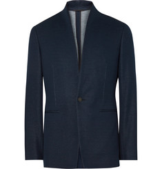 Kilgour Navy Slim-Fit Stand-Collar Cotton Blazer