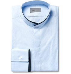 Kilgour - Blue Slim-Fit Contrast-Tipped Grandad-Collar Cotton Shirt