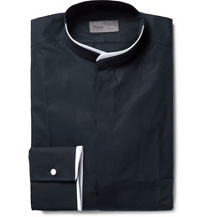 Kilgour - Slim-Fit Contrast-Tipped Grandad-Collar Cotton Shirt