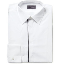 Kilgour White Slim-Fit Contrast-Tipped Cotton Shirt