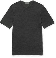 Kilgour - Slim-Fit Silk V-Neck T-Shirt