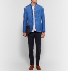 Massimo Alba - Stand-Collar Faded Linen and Cotton-Blend Jacket