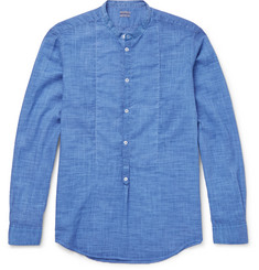 Massimo Alba Grandad-Collar Basketweave Cotton Shirt