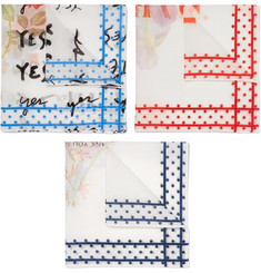 Massimo Alba Set of Three Floral-Print Cotton Pocket Squares