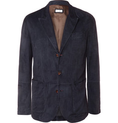Brunello Cucinelli Navy Slim-Fit Suede Blazer