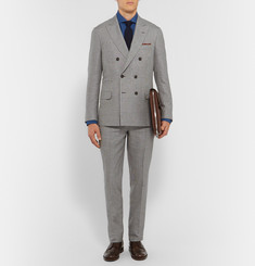 Brunello Cucinelli Grey Slim-Fit Houndstooth Linen, Wool and Silk-Blend Suit