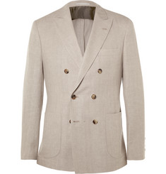 Brunello Cucinelli - Stone Double-Breasted Linen, Wool and Silk-Blend Blazer