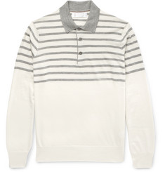 Brunello Cucinelli Striped Cashmere and Silk-Blend Polo Shirt