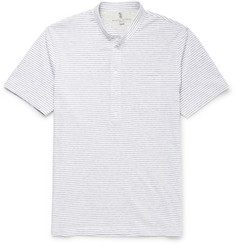 Brunello Cucinelli Grandad-Collar Striped Cotton Henley T-Shirt