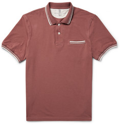 Brunello Cucinelli - Slim-Fit Contrast-Tipped Cotton-Piqué Polo Shirt