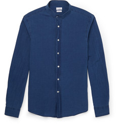 Brunello Cucinelli Slim-Fit Grandad-Collar Cotton-Chambray Shirt