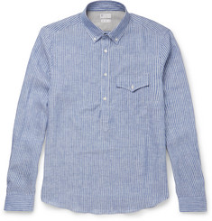 Brunello Cucinelli - Slim-Fit Button-Down Collar Striped Linen Shirt
