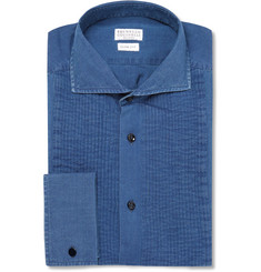 Brunello Cucinelli Blue Slim-Fit Bib-Front Denim Tuxedo Shirt